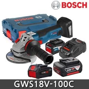 보쉬 GWS 18V-100 C[4.0Ah, 배터리 2개]