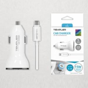 TEMPLER 차량용 3.1A 듀얼 USB충전기 8핀 (TEM-C2-312)[케이블포함]