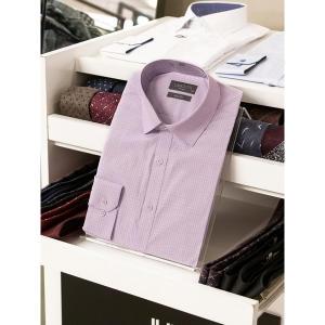 란체티 핑크 컬러 잔체크 무늬 슬림핏 긴소매 와이셔츠_LPF8304VI02