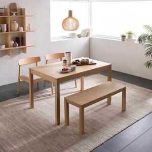 리바트 온라인 뉴빈센트 애쉬 4인 원목식탁세트[벤치+의자2개]