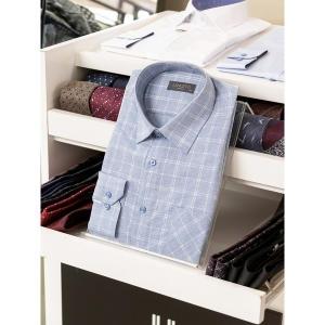 란체티 스카이블루컬러 체크무늬 클래식 긴소매 와이셔츠_LQS8767BL02