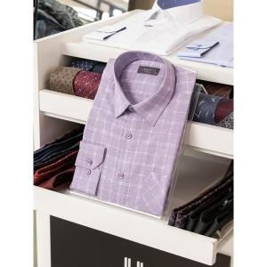 란체티 와인컬러 체크무늬 클래식 긴소매 정장 와이셔츠_LQS8767VI02