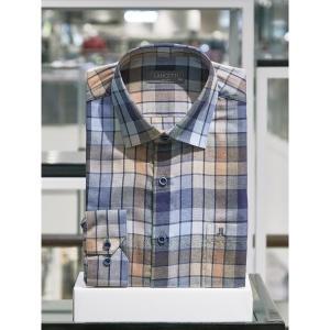 란체티 체크 일반핏 긴소매 셔츠_LRF9865BR