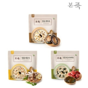 동방푸드마스타 아침엔본죽 일품전복죽1팩+일품해물죽1팩+일품쇠고기미역죽1팩