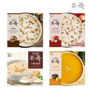 동방푸드마스타 아침엔본죽 전복죽1팩+쇠고기죽1팩+누룽지닭죽1팩+단호박죽1팩