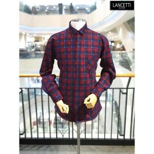 란체티 레드 기모본딩 체크 일반핏 긴소매 셔츠_LRW1019RE