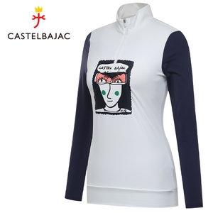 까스텔바작 여성 아트웍 포인트 반집업 티셔츠 (BG8STS502WH)
