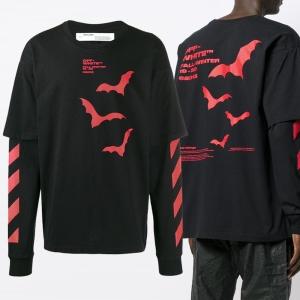 오프화이트 남성 베트 더블 슬리브 티셔츠_OMAB022E191850071020