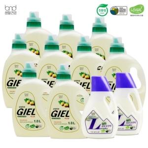 비엔디생활건강 세제혁명 지엘플러스 액체세제 1.8L x 9개 + 섬유유연제 1.3L x 2개