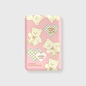 어프어프 Magic merry pattern-pink 무선충전 보조배터리