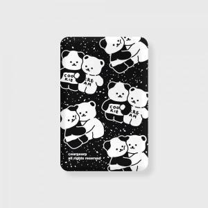 어프어프 Cookie cream pattern-black 무선충전 보조배터리